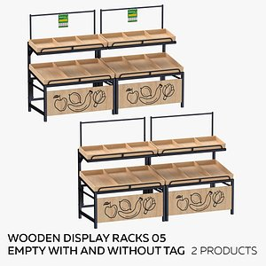 3D Wooden Display Rack 05 Empty  - With and Without Tag