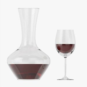 3D Decanter with wine and glass model