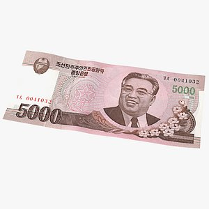 3D North Korea 5000 Won Banknote 2008 model