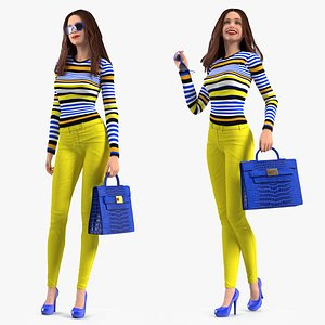 Young Woman Fashionable Style Rigged for Cinema 4D 3D model
