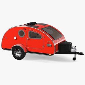 3D Vistabule Teardrop Camping Trailer Red Rigged model