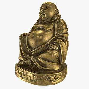 3D bronze wooden sitting laughing