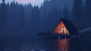 A FRAME LAKE HOUSE 3D