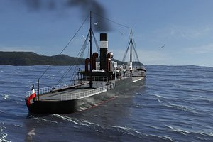 3D 1905 german cargo steamer