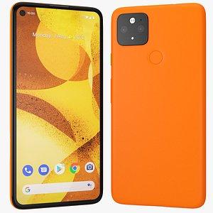 5g mobile phone orange 3D