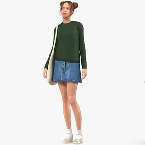 Urban Style Young Woman Rigged for Maya 3D