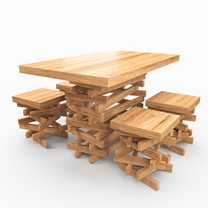 3D Dining Table Pile of Wood model