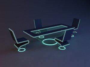 3D Scifi Futuristic office furniture model