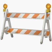 3D A-Frame Roadworks Barricade DIRT with Warning Light PBR
