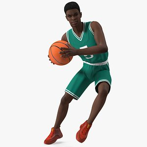 Dark Skin Teenager Basketball Player Playing Pose 3D model