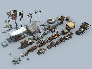 3D Chinese Retro Grocery Stall model