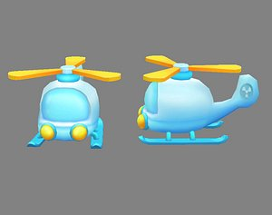 3D Cartoon toy airplane - helicopter