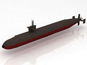 USS Dallas SSN 700 with Dry Deck Shelter 3D model