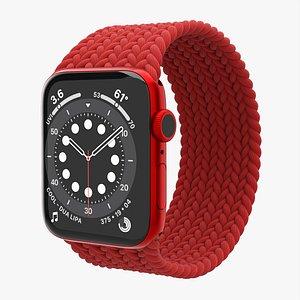 3D Apple Watch Series 6 braided solo loop red