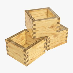 box wooden japanese 3D