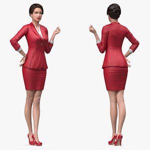 3D Asian Woman wears Red Formal Suit Rigged for Cinema 4D