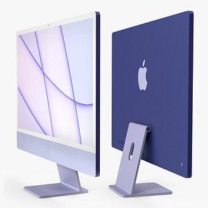 Apple iMac 2021 Purple 3D model