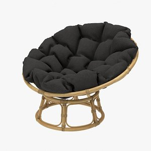 3D Papasan Chair Rattan with Dark Cushion