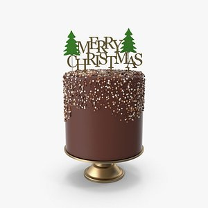 Christmas Cake with Gold Merry Christmas Topper 3D model
