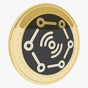 3D DaTa eXchange Cryptocurrency Gold Coin model