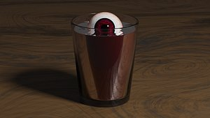 Eyeball in a blood filled glass 3D model