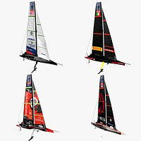 2021 AC75 Americas Cup racing yachts set.