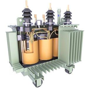 Oil Industrial Transformer Low Scheme Diagram 18 3D model