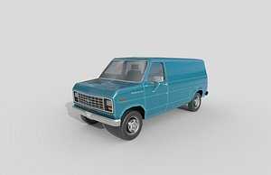 3D Low Poly Car - Ford E-Series Econoline 1986