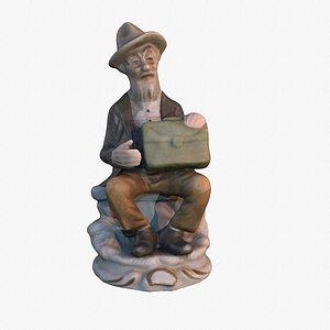 Old man statue high-poly 3D model 3D model