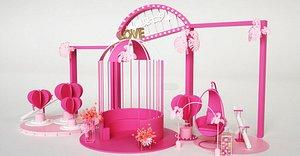 Valentine Day flower 3D model