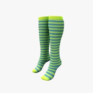 Striped High Socks 3D model