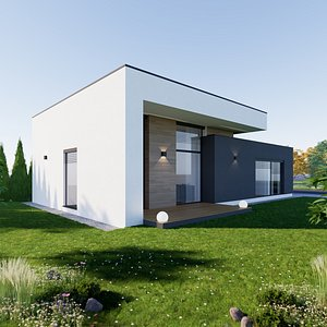 3D Bungalow 7 - Created with fully parametric Revit Families model