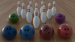3D model bowling pin ball