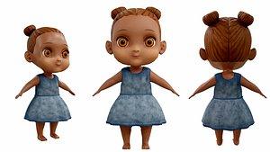 3D baby black girl model
