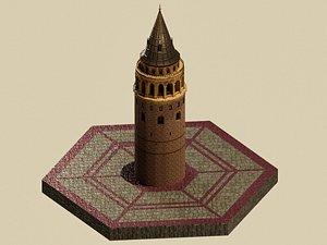 Stylized Galata Towers 3D