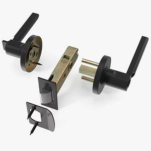 Passage Door Lock with Handle Black model