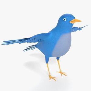 3D cartoon bluebird bird
