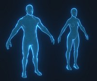 Human Hologram Male and Female 3D Model