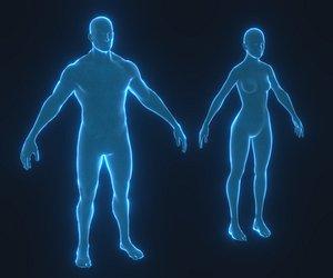 3D hologram male female model