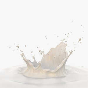3D milk crown splash model