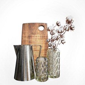 decorative kitchen accessories set 3D model