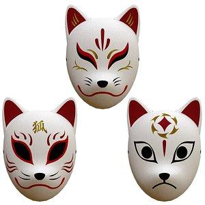 Japanese Fox Mask C Set 3D model