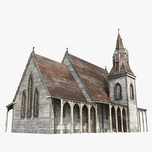 3D Wooden Church, 8K PBR Textures