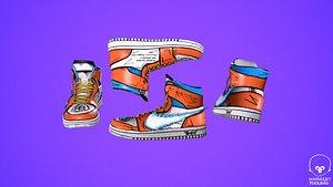 3D Sneakers nike jordan 1 Goku anime game ready pbr Low-poly 3D model