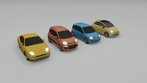 collection of 4 low poly cars 3D model
