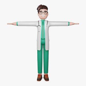 3D Doctor Full Body Cartoon Characters model