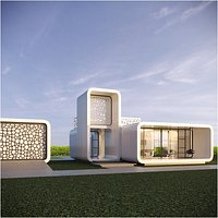 Futuristic residential house 01