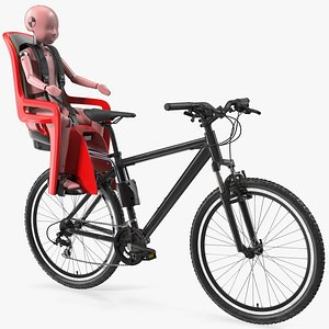 Bike with Child Crash Test Dummy in Safety Seat 3D model