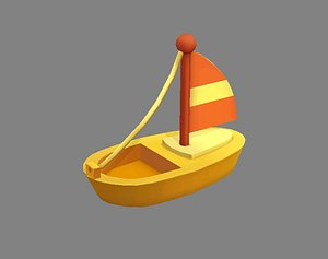 3D model Cartoon toy sailboat - wooden boat