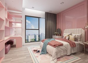 3D Girls bedroom scene Chinese style bedroom  modern interior bedroom  high-rise bedroom noble luxury